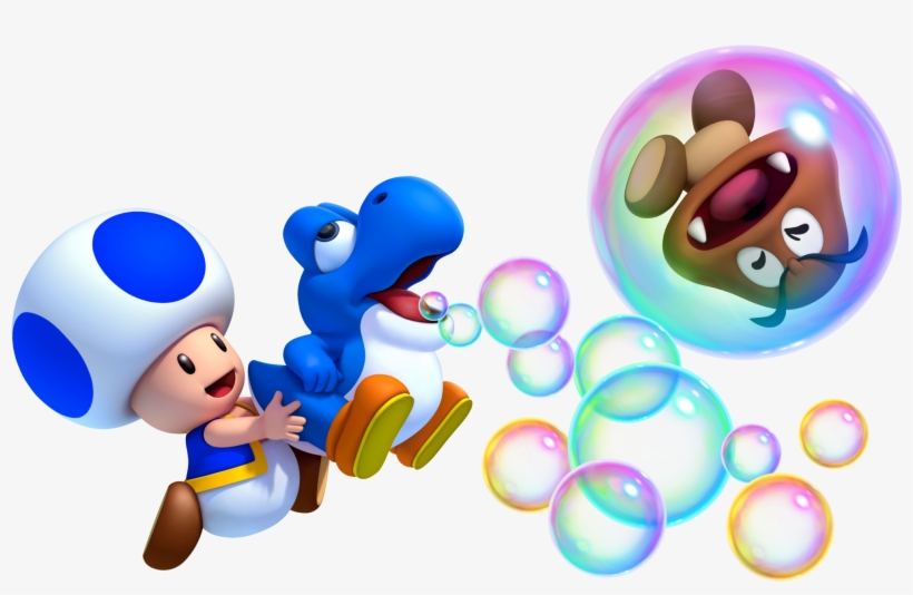 Hard Toad And Blue Baby Yoshi - New Super Mario Bros Wii U Toad, transparent png #200595