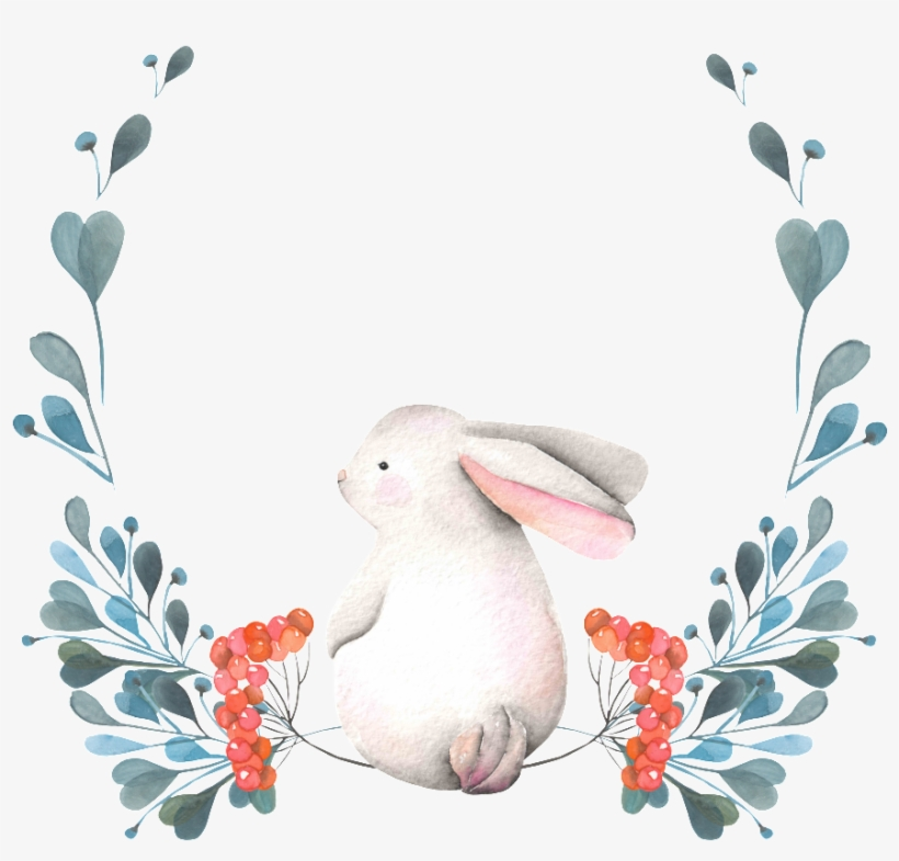 The Rabbit Png Transparent Hand-painted Back Seated - Animal Wreath Watercolor, transparent png #201195