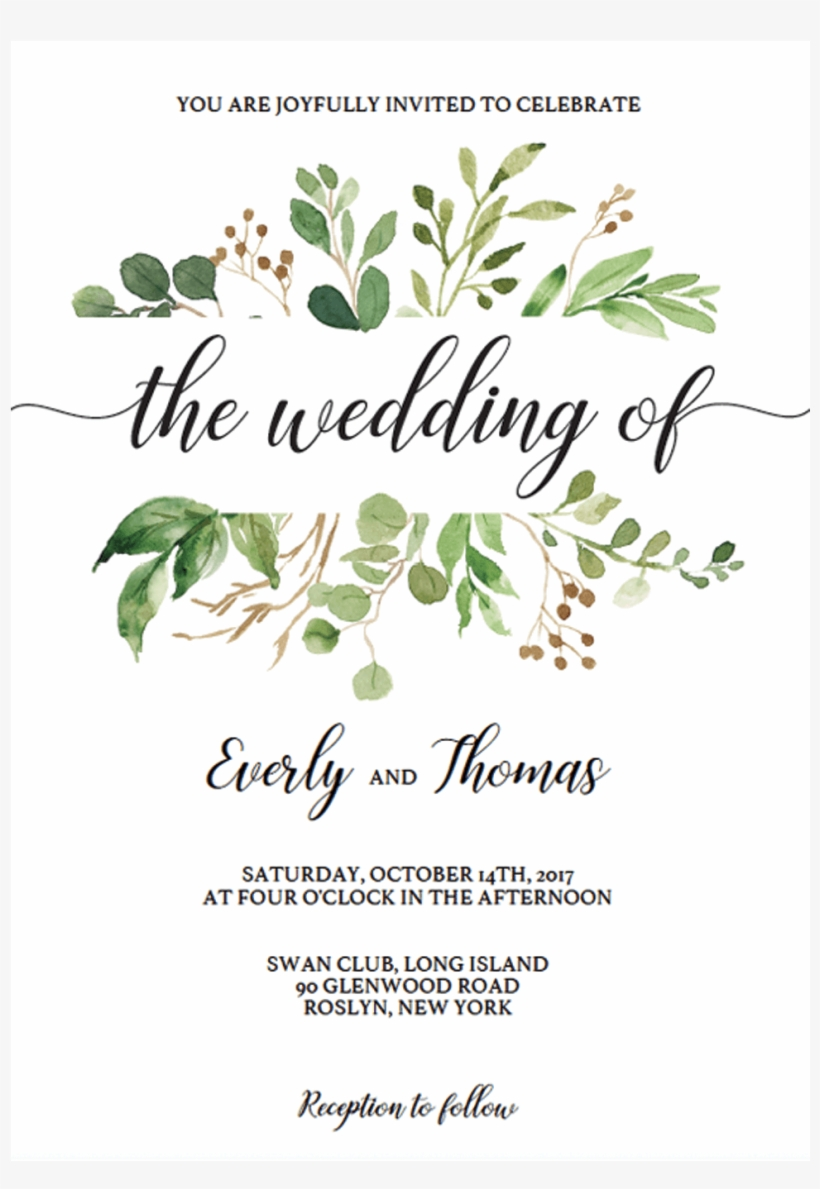 Watercolor Wedding Invitation Template Download By