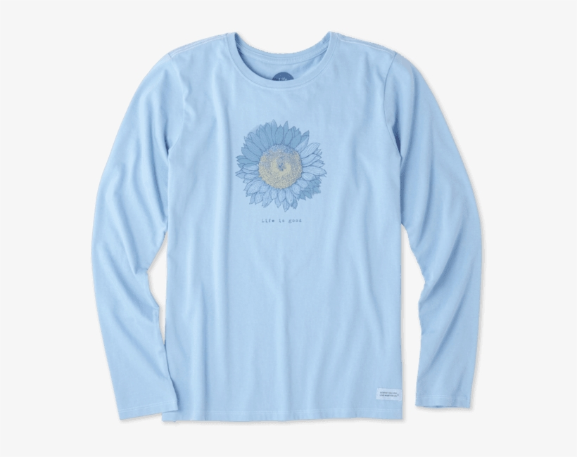 Women's Engraved Sunflower Long Sleeve Crusher - Long-sleeved T-shirt, transparent png #203823