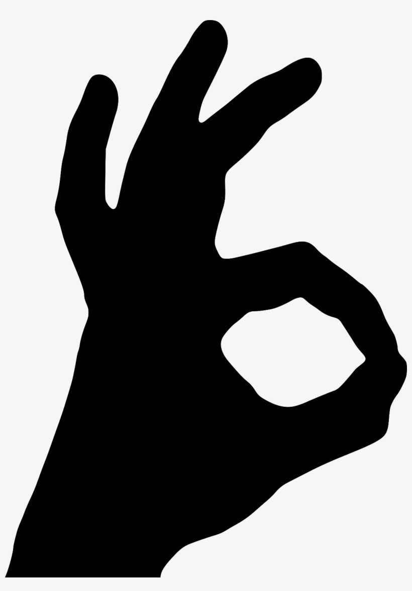 1 Of 4free Shipping Ok Hand Gesture Wall Art Vinyl - 0 Hand Sign, transparent png #206897