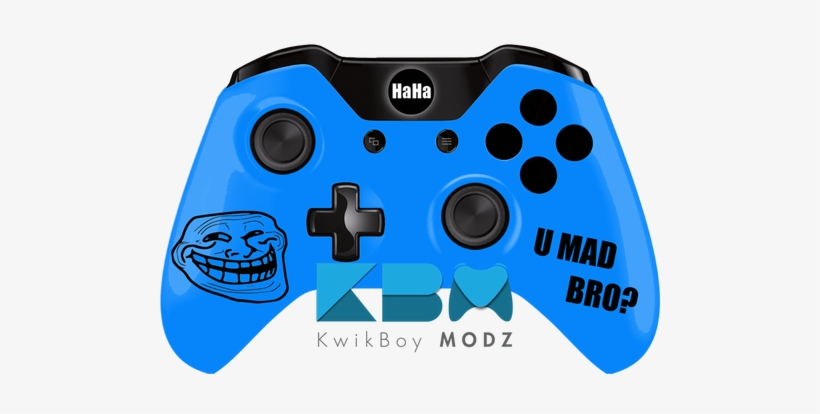 Custom Blue Troll Face Xbox One Controller - Led Camo Ps4 Controller, transparent png #209695