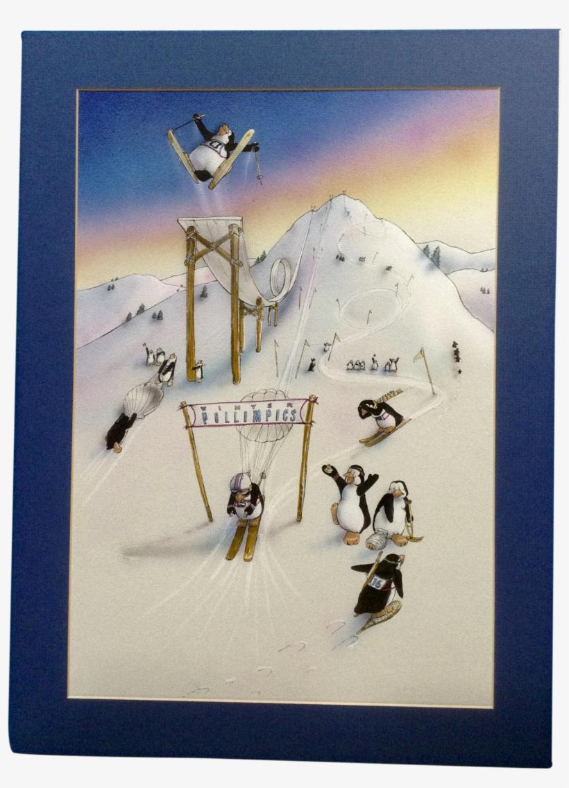 G Johns, Winter Olympics Pollimpics Penguins Skiing - Watercolor Painting, transparent png #2000593
