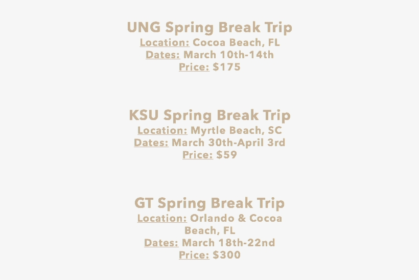 Ung Spring Break Trip Location - Florida, transparent png #2001220