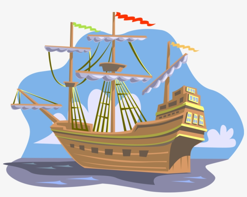 Vector Illustration Of Christopher Columbus 15th Century - Cabeza De Vaca Boat, transparent png #2002902
