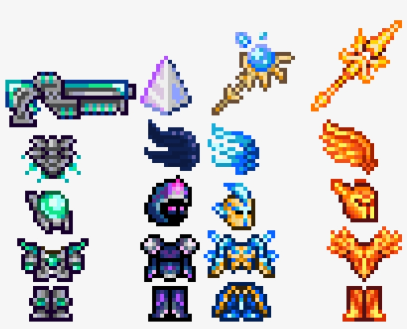 Terraria Best Armor And Weapons Pixel Art Maker - Pixel Art