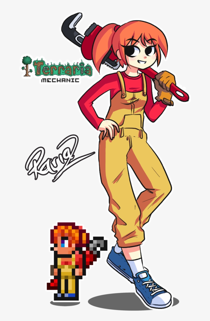 Whoever Is Making These Terraria Girls, You Are Awesome - Terraria Fan Art Mechanic, transparent png #2012023