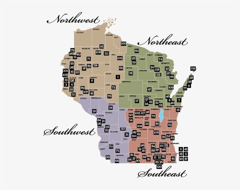 Rustic Roads Regional Map - Wisconsin Road Construction Map, transparent png #2015617