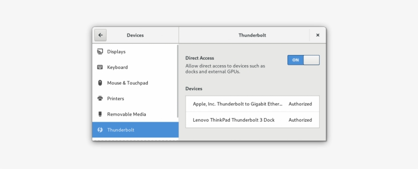 The New Thunderbolt Control Center Panel - Gnome Thunderbolt