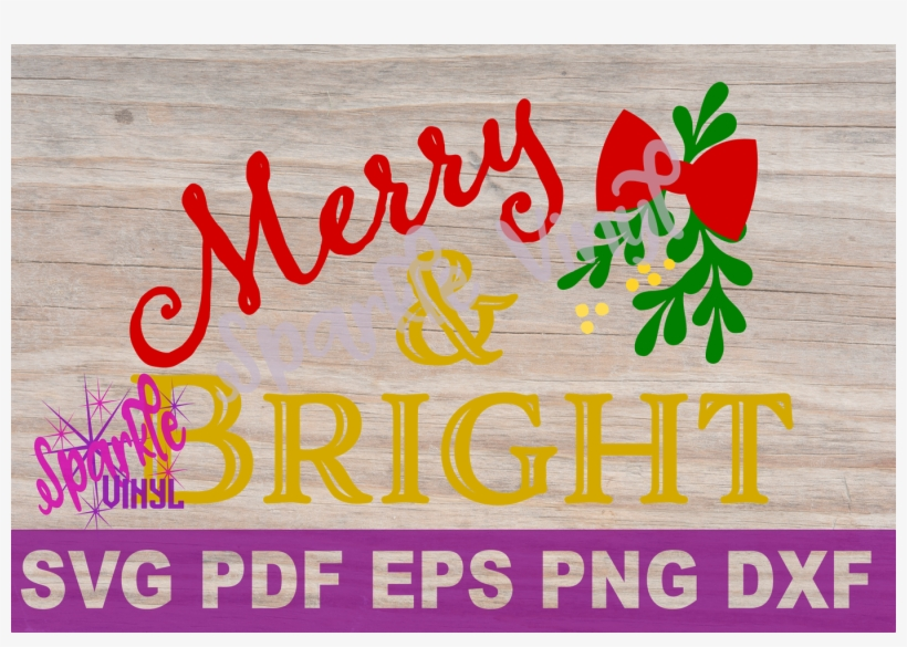 Svg Christmas Merry And Bright Farmhouse Sign Stencil - Scalable