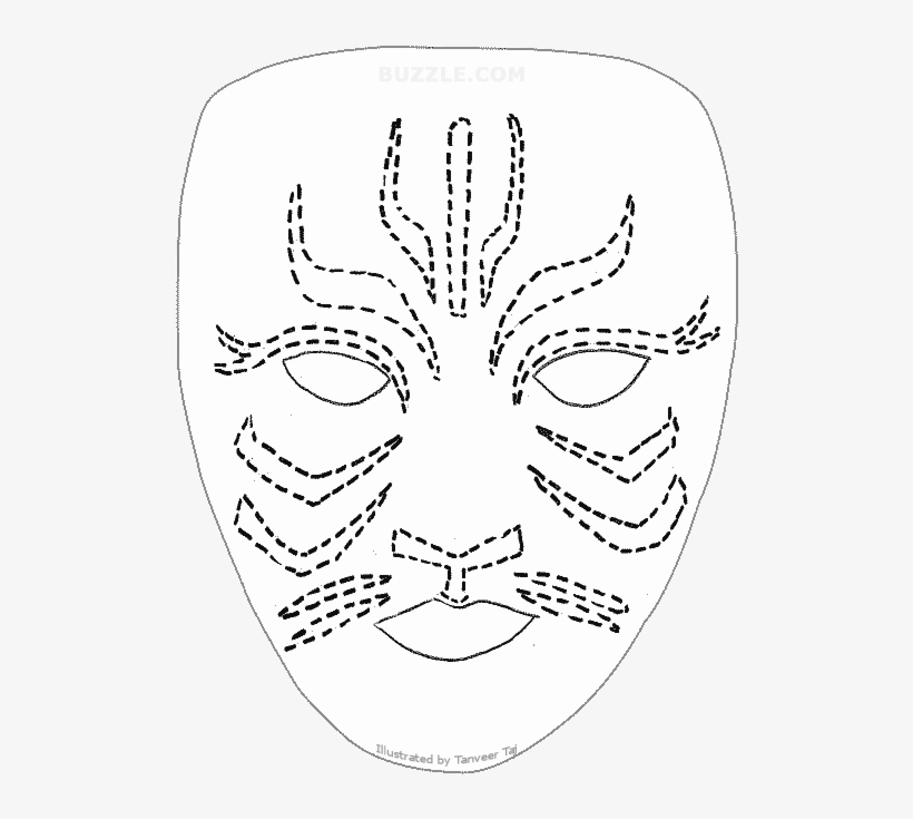 Try Out These Face Painting Stencils - Tiger Face Painting Template, transparent png #2041981