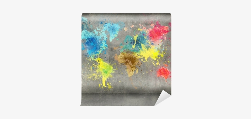 World Map Made Of Paint Splashes On Concrete Wall Background - Painting Wall Background, transparent png #2042772