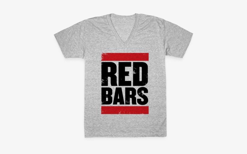 Red Bars V-neck Tee Shirt - H Double Hockey Sticks, transparent png #2050848