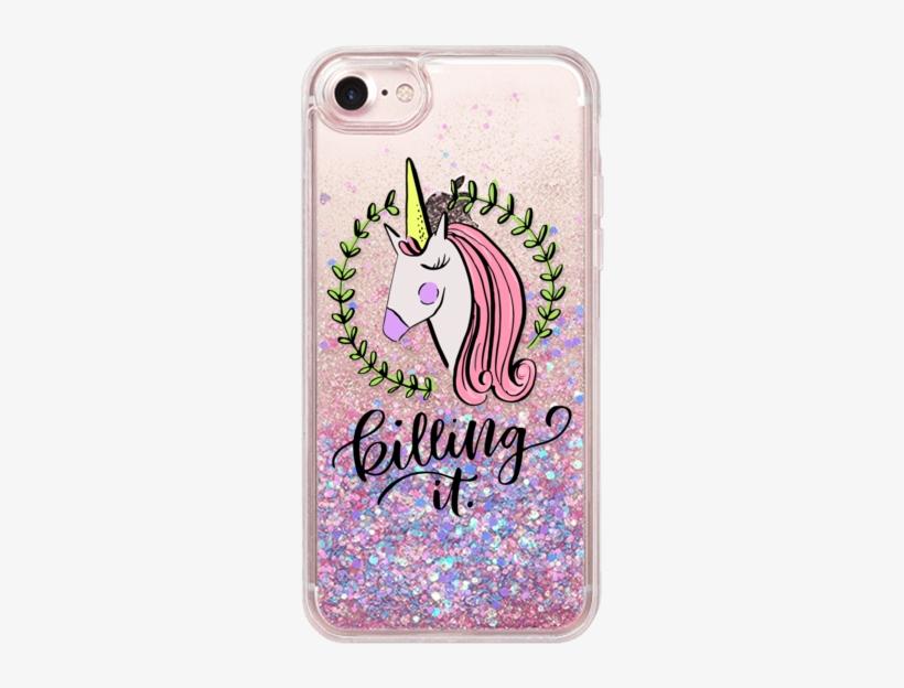 Casetify Iphone 7 Glitter Case - Fundas Para Celular Unicornio, transparent png #2053765