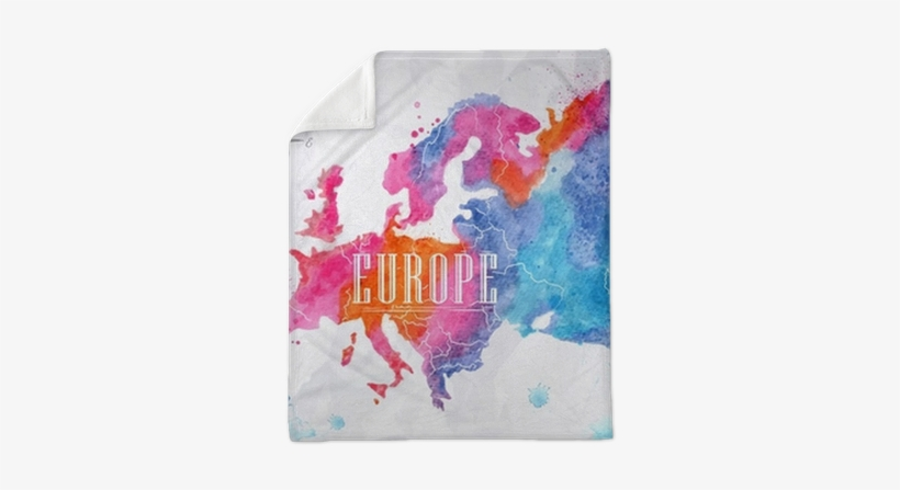 Watercolor Europe Map Pink Blue Plush Blanket • Pixers® - Europe Map Watercolour, transparent png #2054350