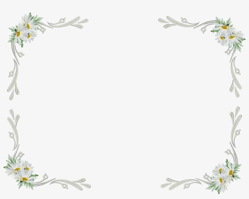 White Floral Border Transparent - White Flower Frame Png