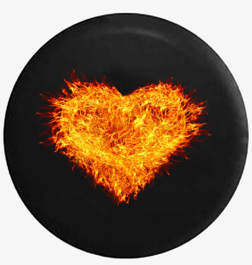 Burning Heart Real Fire Flames Jeep Camper Spare Tire - Valentine's Day Notebook Collection: Hearts On Fire,, transparent png #2064133