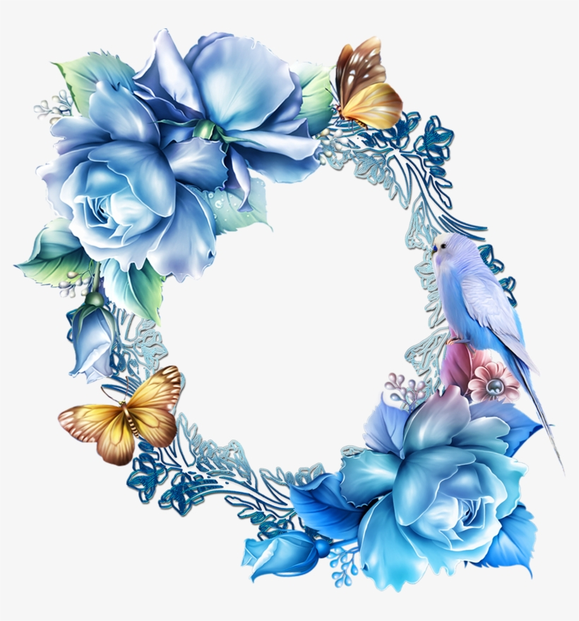 Paper Frames, Picture Frames, Seal, Templates, Belles - Blue Flower Border Clipart, transparent png #2067851