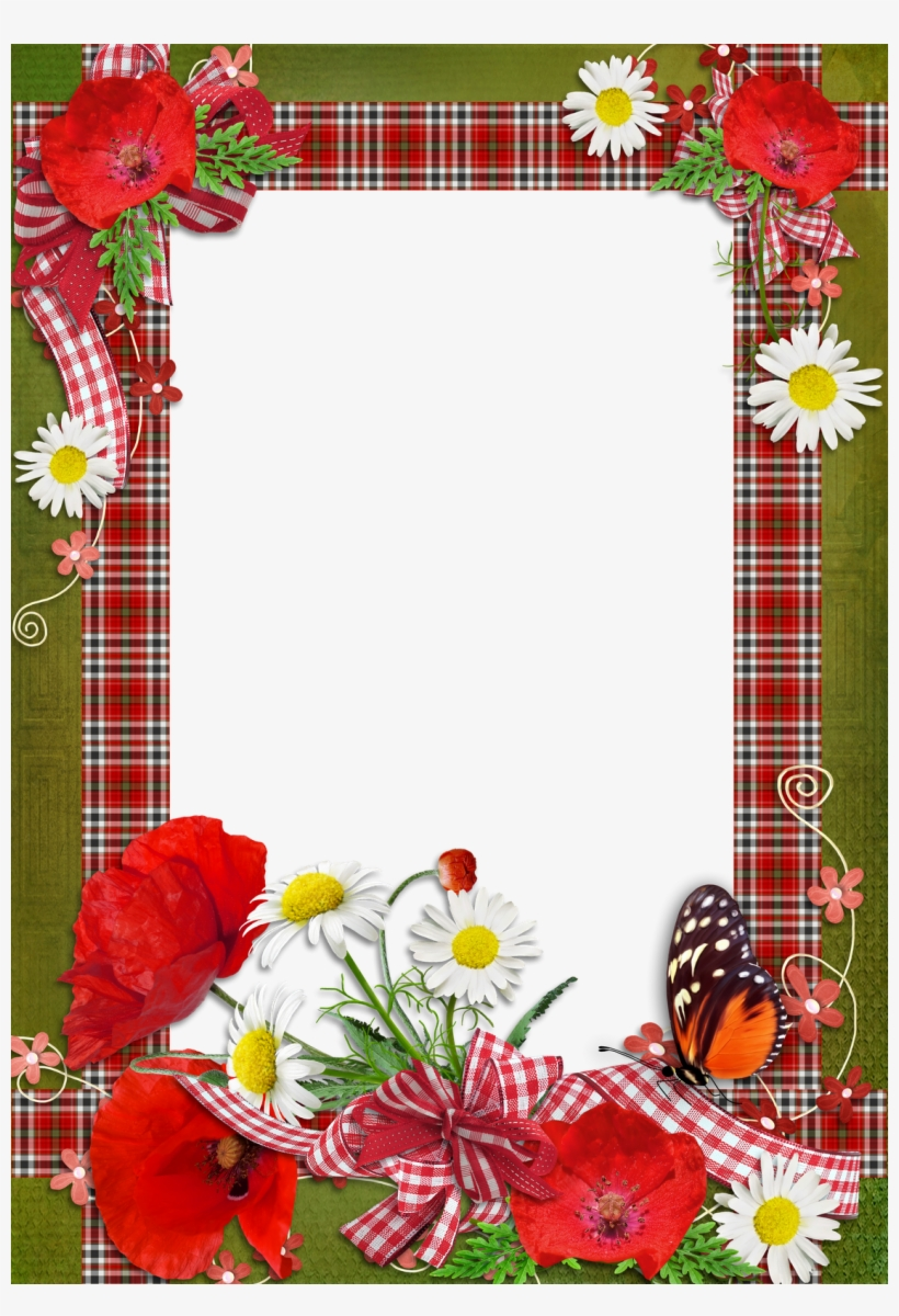 Borders And Frames, Page Borders, Borders For Paper, - Flower Photo Frames Design Png, transparent png #2067988