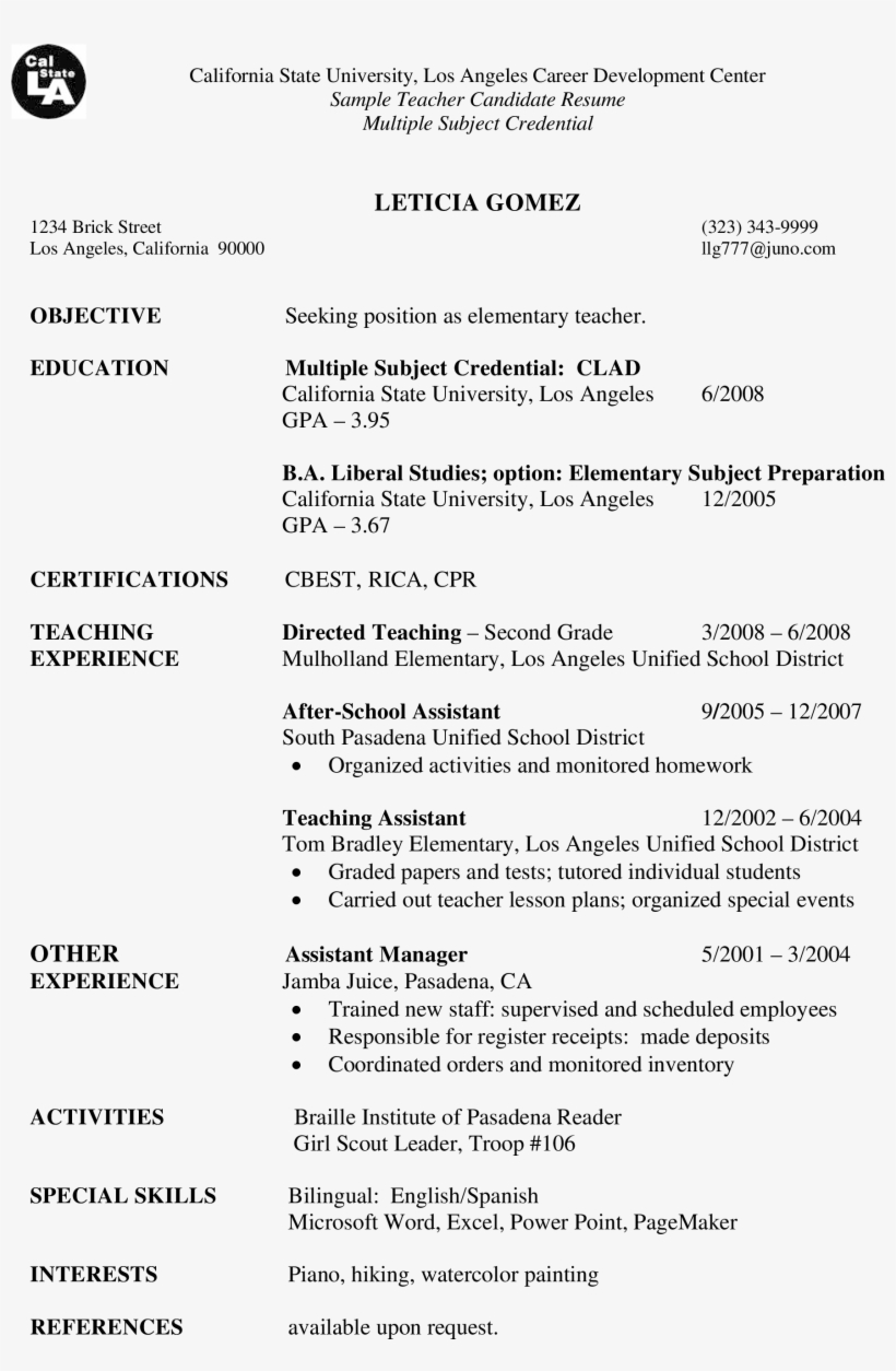 Sample Teacher Candidate Resume Main Image