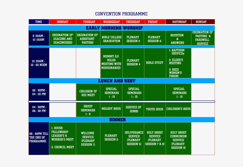 Program Schedule For 2017 Rccg 65th Annual Convention - Rccg Convention 2018 Programme, transparent png #2089705