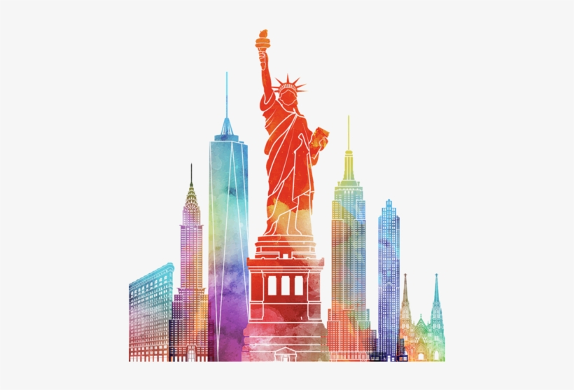 Click And Drag To Re-position The Image, If Desired - New York Watercolor Painting, transparent png #215850