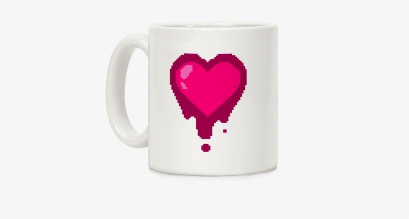 Bleeding Pixel Heart Coffee Mug - Kikkerland Pixel Heart Morphing Mug, transparent png #216347
