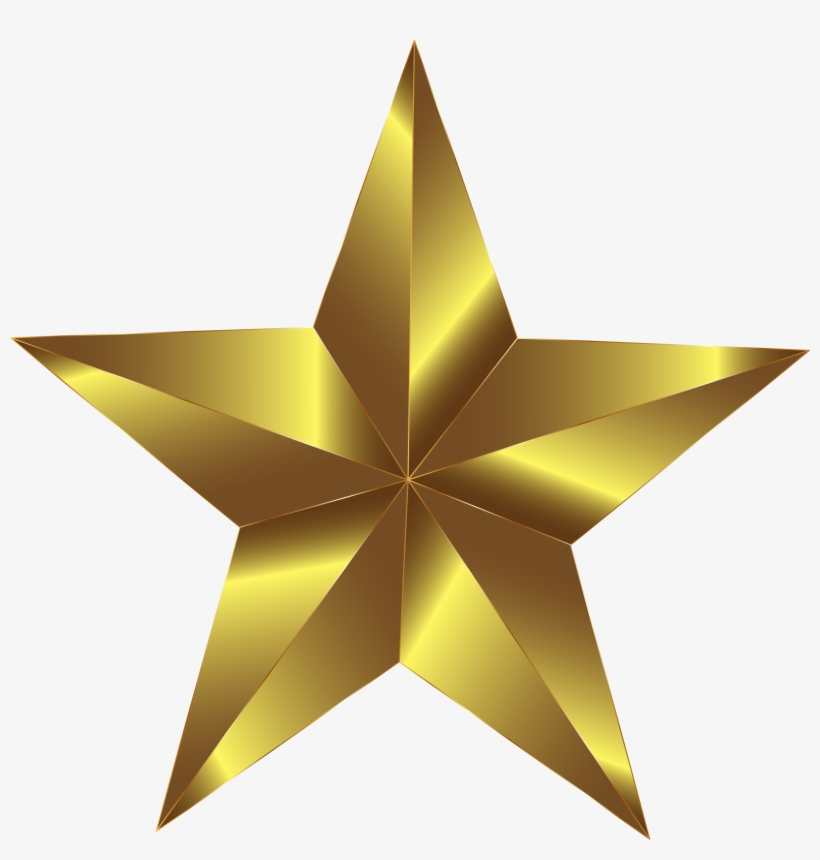 3d Gold Star Png Download - Gold Star Clipart Png - Free
