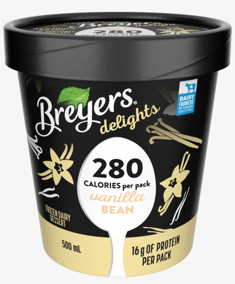 Breyers Delights Vanilla Bean 500 Ml Front Of Pack - Breyers Delights Ice Cream, Low Fat, Vanilla Bean -, transparent png #2104369