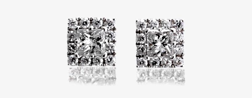28757 Diamond Stud Earrings Square Set - Earring, transparent png #2112472