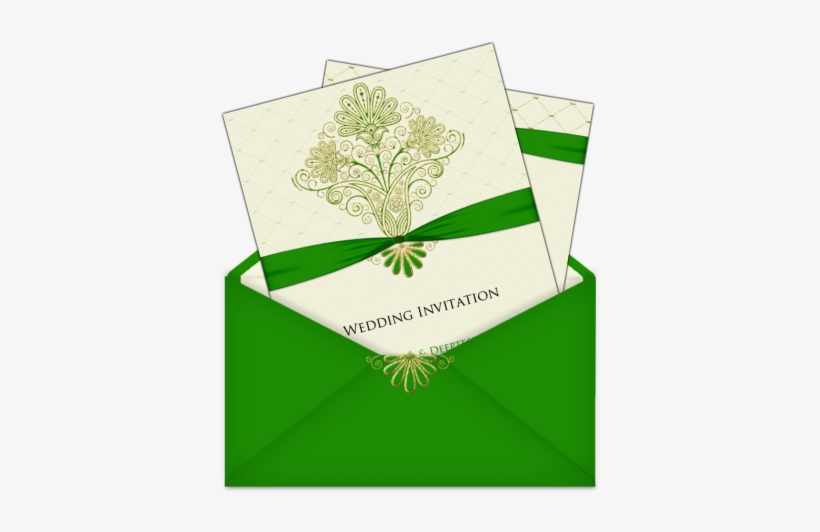 Invitation Template With Multiple Pages Bright Green - Wedding Card Design Green, transparent png #2115477