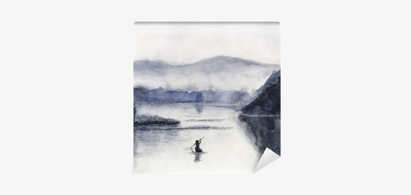 Watercolor Fishing Boat And Island With Mountains - Watercolor Painting, transparent png #2116693