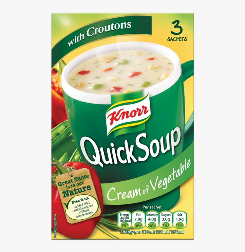 Knorr Quick Soup Cream Of Vegetable With Croutons 3 - Knorr Chicken And Vegetable Soup, transparent png #2131435