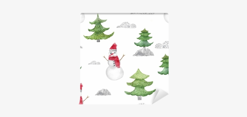 Watercolor Christmas Seamless Pattern With Fir Trees - Christmas Day, transparent png #2137524