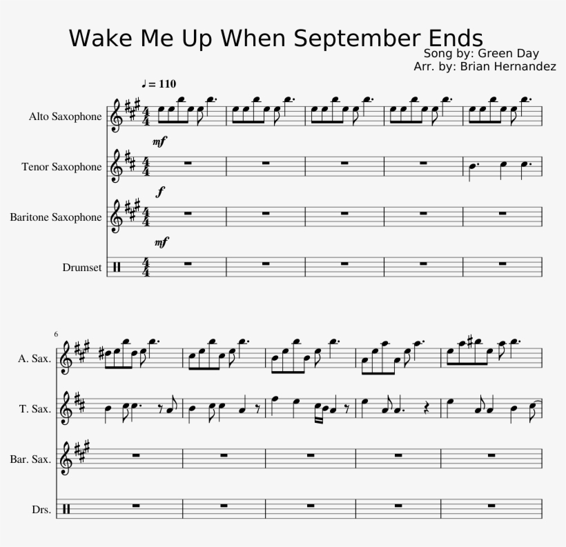 Wake Me Up When September Ends Sheet Music Composed - Zen Zen Zense Alto Saxophone Score, transparent png #2137897