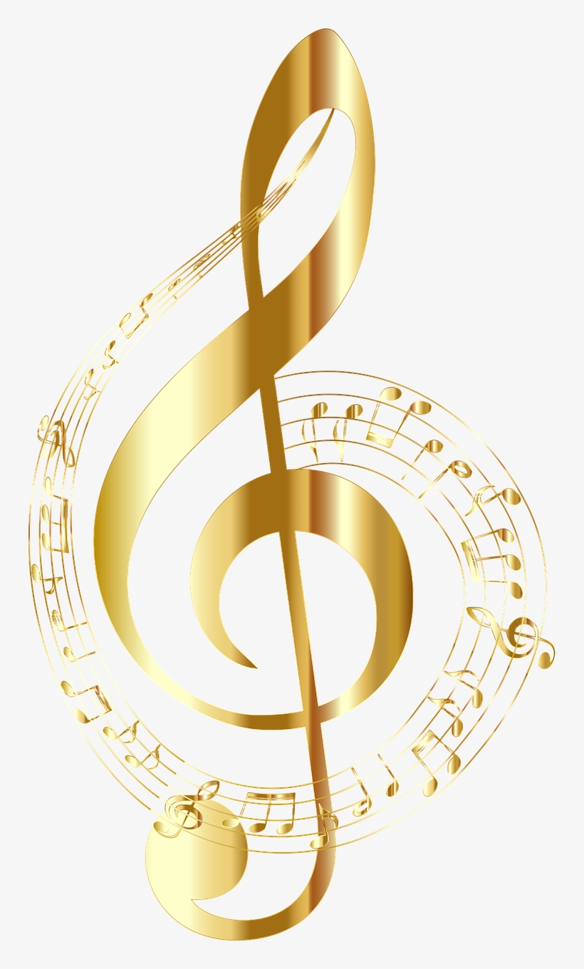 Treble Clef - Gold Music Note, transparent png #2138333