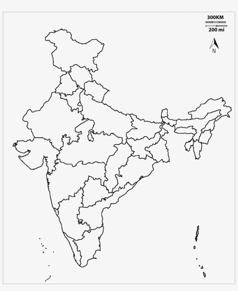 India Transparent Line Drawing - India Outline Map With States ...