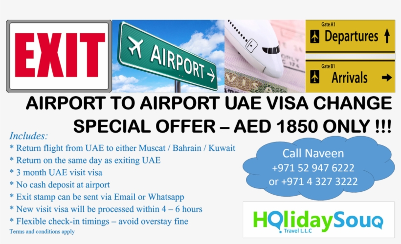 Holiday Souq Travel On Twitter - Airport To Airport Visa Change, transparent png #2147023