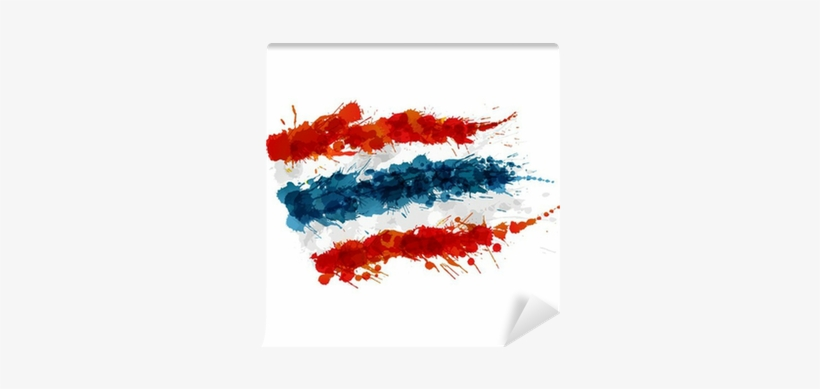Flag Of Thailand Made Of Colorful Splashes Wall Mural - Puerto Rico Flag Watercolor, transparent png #2147667