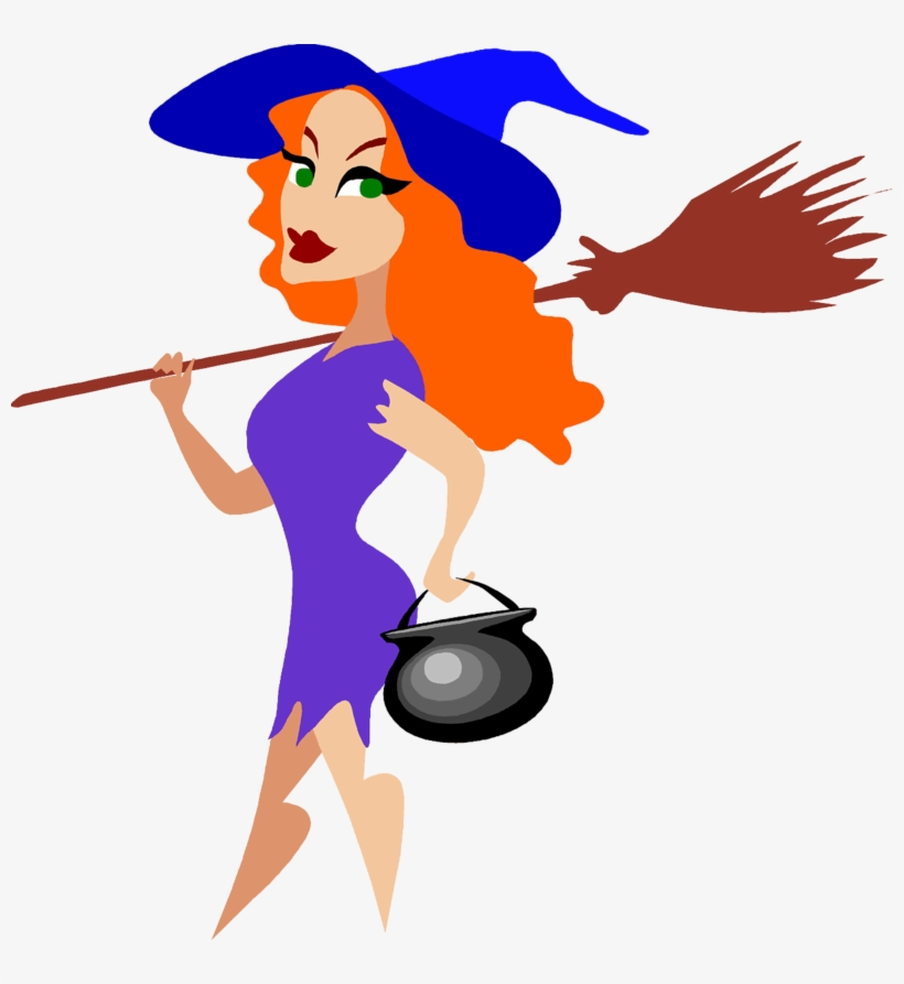 Purple Witch Broom - Sexy Witch Clip Art, transparent png #2153626