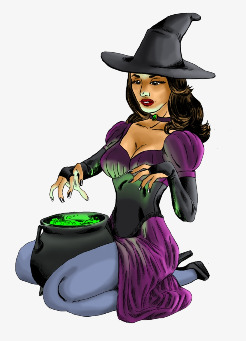 No Broom, But Love The Cauldron - Sexy Witch Cartoon Png, transparent png #2163583