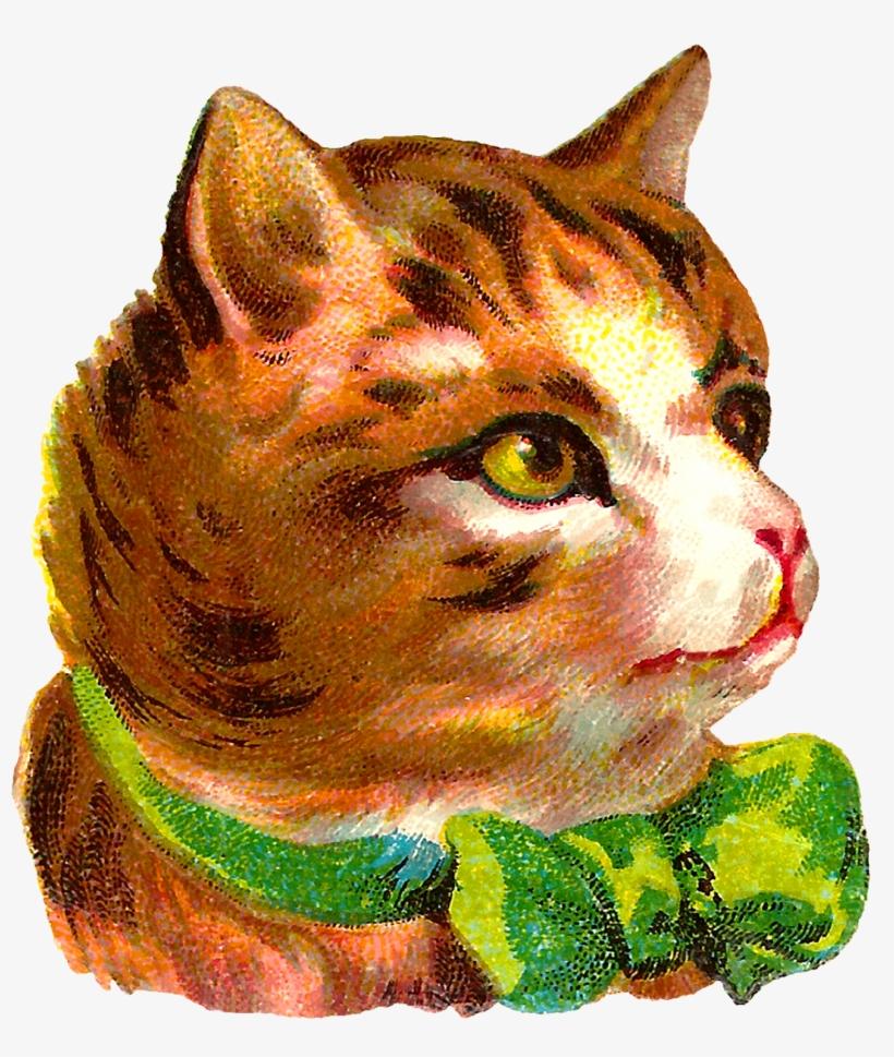 Victorian Antique Free Cat Clip Art Pet Tabby Png Black - Victorian Cat Art, transparent png #2165515
