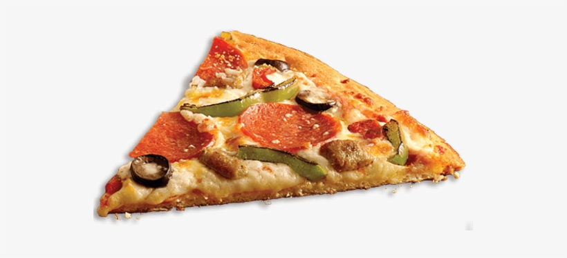A Photograph Os A Slice Of Pizza With Pepperoni, Green - Veggie Pizza Slice Png, transparent png #2169288