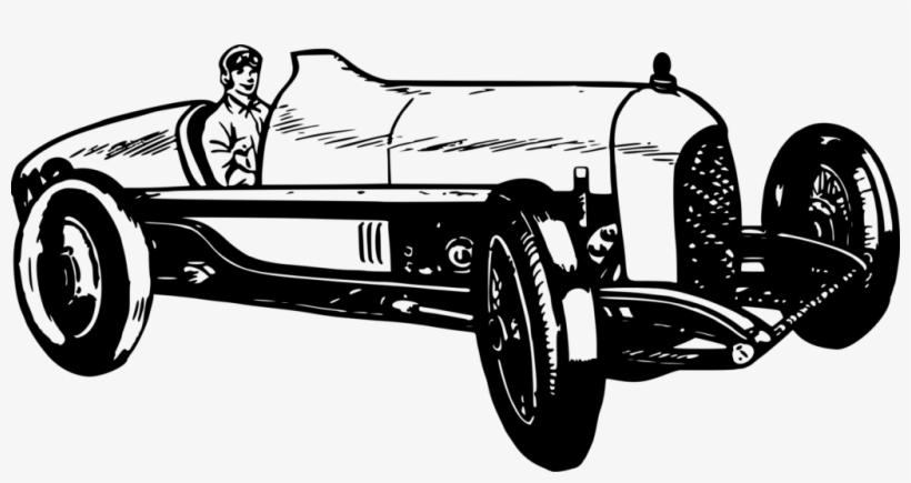 Vintage Race Car Clipart - Vintage Racing Car Art, transparent png #2172764