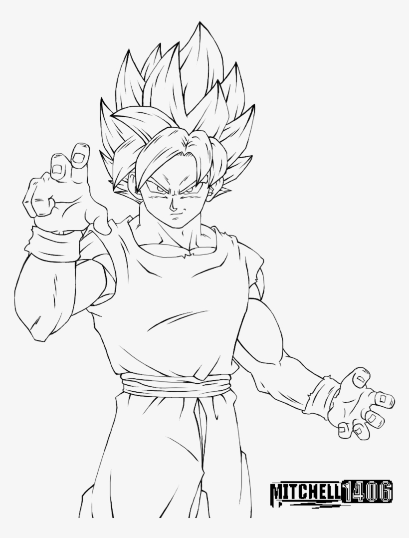 Perfected Super Saiyan Line Drawing Dragon Ball Goku Ultra
