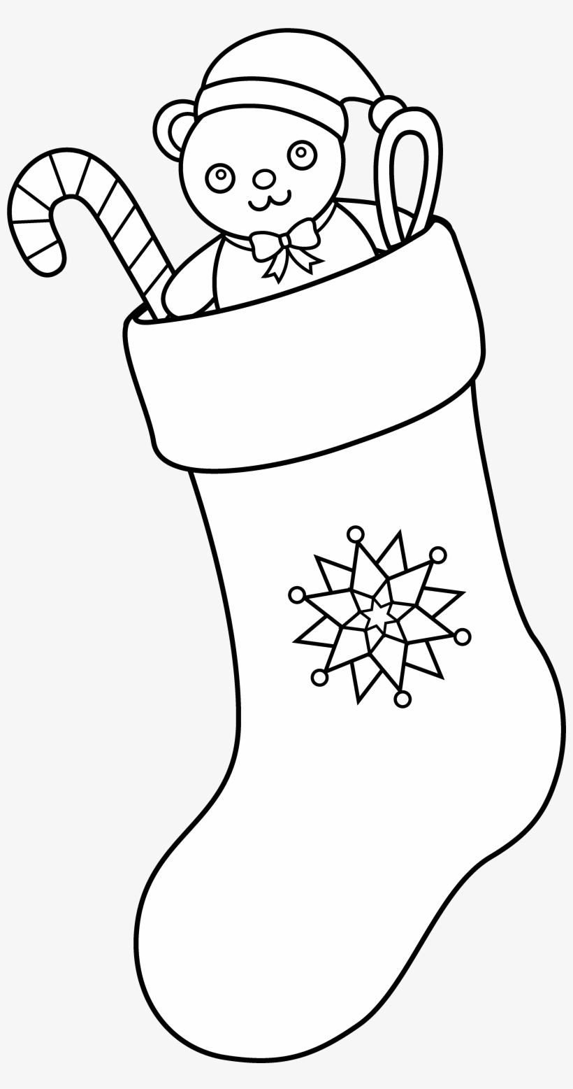 Svg Free Christmas Stocking Art Free Clip Coloring - Christmas Stocking Clipart Black And White Png, transparent png #2184070
