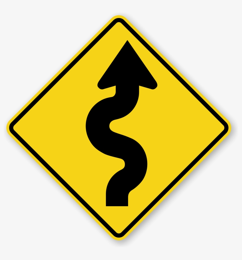 Narrow Road Signs - Winding Road Sign, transparent png #2194096