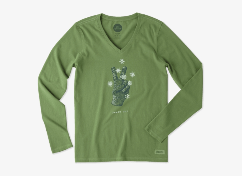 Women's Peace Out Glove Long Sleeve Crusher Vee - Life Is Good, transparent png #2196707