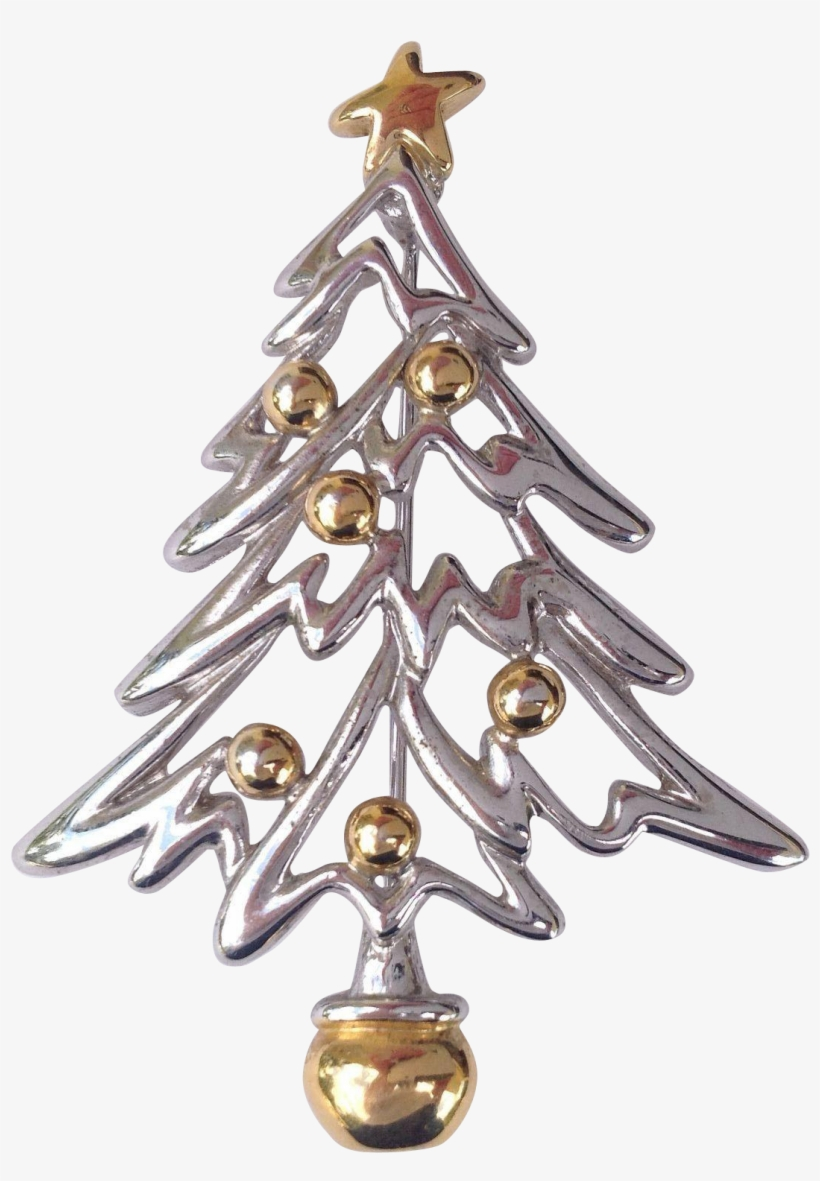 Vintage Modern Silver And Gold Tone Christmas Tree - Christmas Ornament, transparent png #2197408
