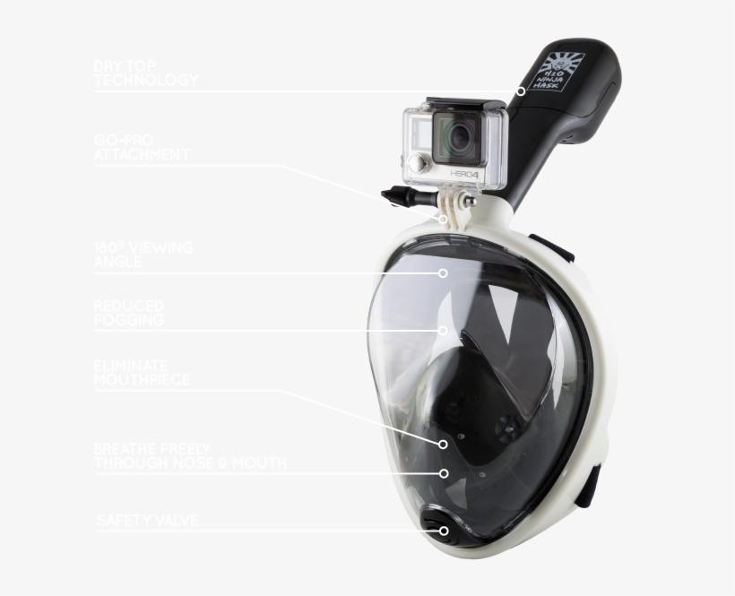 A Revolutionary Full Face Snorkeling Mask Designed - H2o Ninja Mask Go Pro, transparent png #2198077